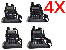 4 pack Baofeng UV-5R Two Way Radio FM LED 10KM Range 1800mAh w/charger earpiece
