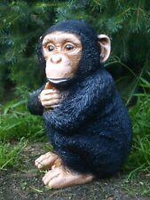 Affe Deko Figur lebensecht 30cm Garten wetterfest Schimpanse Baby Skulptur
