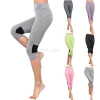 Ladies High Waist Yoga Running Capri Sport Pants Leggings Gym Fitness Trousers