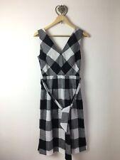 BNWOT Jigsaw Black & Grey Gingham Check Cotton 50s Style Pencil Dress - Size 6