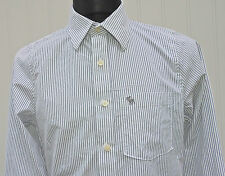 Abercrombie & Fitch Men's White & Black Stripes Casual Shirt Long Sleeve Size M