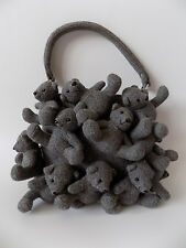 MOSCHINO Grey Wool Teddy Bears Handbag. Italian designer purse.