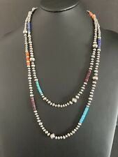 Sterling Silver Navajo Pearls Bead Necklace  60 Inch