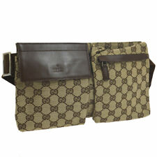 GUCCI GG Pattern Waist Bum Bag Brown Canvas Leather Vintage Italy AK38471c