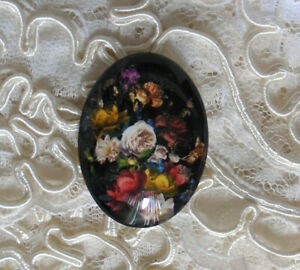 Colorful Floral 30X40mm Glitter Unset Handmade Glass Art Bubble Cameo Cabochon