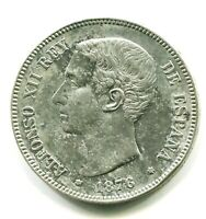 5 PESETAS PLATA ALFONSO XII    DE M  1876 * 18 , 76  MBC EBC