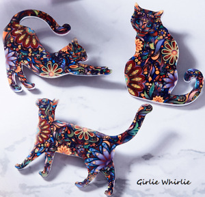 Cat Brooch Pin Badge Gift Cat Lover Floral Flowers Acrylic Kitten Jewellery Lady