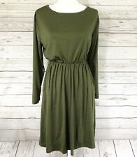 Imboaz Womens Long Sleeve Casual Green Dress With Pockets XL