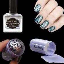 Purple Nail Art Stamper Scraper & 15ml Born Pretty Silver Stamp Polish Varnish