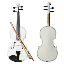 More details for new 4/4 size white acoustic violin fiddle set with case bow rosin bridge
