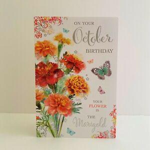 Jonny Javelin Female October Birthday Card Bird Marigold Flower Butterflies/SG82