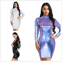Women Metallic Holographic Long Sleeves Slim Bodycon Mini Dress Cocktail Party