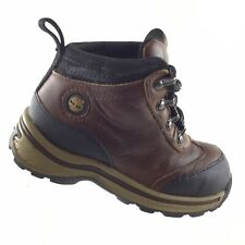 Timberland Brown Leather Casual Hiking Boots Toddler Lace Up Boys Sz 8 Shoes RA8
