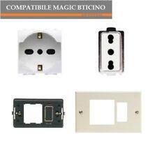 PRESA SCHUKO A5440/16+ PRESA 5180+ PLACCA+SUPPORTO COMPATIBILE MAGIC BTICINO