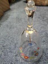 Vintage Avon 24% Lead Crystal Birthday Bell Month of September Hand Bell Flower