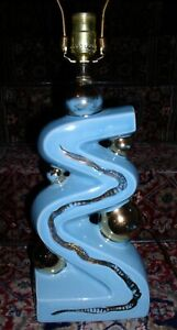MCM Blue/Gold Ceramic lamp   Good shape