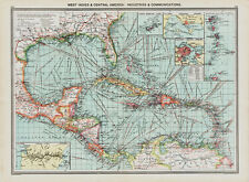 West Indies -old  Map in 1908