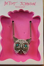 Pendant Necklace Pet Shop Cat Betsey Johnson Gold Tone Embellished Cat