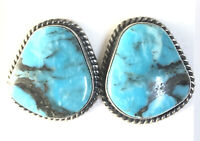 Native American Sterling Silver Navajo Indian Kingman Turquoise Earrings. Signed