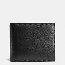 NWT Coach 59112 Compact ID Wallet in Crossgrain Leather, Black F59112-BLK