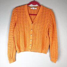 St. John Womens M Cardigan Button Front Orange FLAW