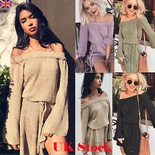 UK  Womens Ladies Thin Knitted Sweater Long Sleeve Off The Shoulder Jumper Dress
