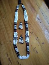Tribal Necklace And Earrings White Beaded 16 Strand