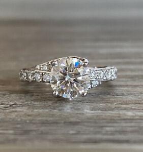 18k Simon G. Round Moissanite and Diamond Engagement Ring 2.25cttw