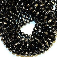GXL1772L 10-Strands Black Opaque 8mm Round Silver Metallic Drawbench Glass Beads