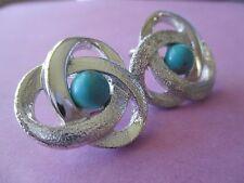 Vintage Sarah Cov SILVER TONE W/BLUE BEAD Earrings--812