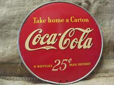 Vintage Coke Coca-Cola 25c Round Display Sign > Antique 6 Pack Carton Soda 9754