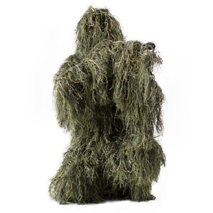New Ghillie Suit M/L Camo Woodland Camouflage Forest Hunting 3D 4-Piece + Bag