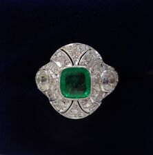 French Antique Art Deco Emerald and Diamond Panel Ring in Platinum - Size I