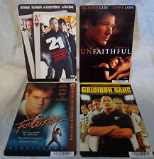 FOOTLOOSE--UNFAITHFUL--21--GRIDIRON GANG--4 MOVIE BACKER COLLECTIBLE CARDS