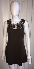NWD $140 BCBG MAX AZRIA BROWN SLEEVELESS CROCHET TANK TUNIC TOP M