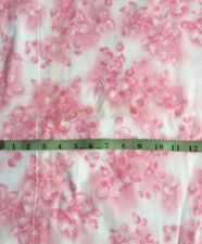 """1 yd Vtg Pink Cream Floral Berry Flannel Cotton Fabric Quilt Sewing 37"""" Wide"""