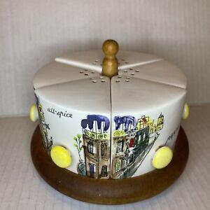 Vintage 6 Piece Spice Seasoning Shaker Set Pie Cake Slices Rotating Platform