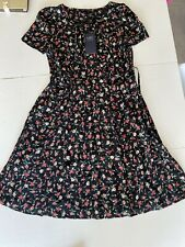 Marks & Spencer Black Floral Flower Print Dress Size 16 New With Tags