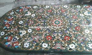 6'x4' Green Marble Dining Table Top Multi Floral Mosaic Inlay Kitchen Decor E343