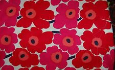 "Marimekko Mini Unikko fabric half yard 18"" x 56"", cotton, Finland, white red"