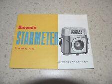 Original Kodak Brownie Starmeter Camera Owner's Manual~Excellent Condition