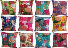 India Handmade Cushion Cover Floral 100% Cotton Embroidered Kantha Pillow Cover