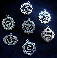 Set of 7 Chakra Symbols Pendants Goddess Silver Tone Metal 30mm