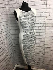 White & Black Bodycon Midi Dress Size Medium Sleevless With Zip Stretchy Comfort