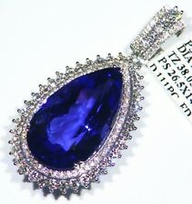40.06CT 18K Gold Natural Tanzanite White Diamond Vintage AAA Engagement Necklace