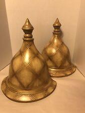 Wall Sconce Pedestal Mountable Shelf Home Decor Gold Diamond Pattern Heavy Lot 2