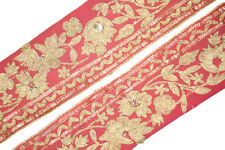 Vintage Trim Indian Ribbon Saree Border Embroidered Deco Craft by The Yd ST1721