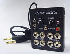 4 User Aviation Pilots Aircraft Intercom (Calls/Music) with PTT Button
