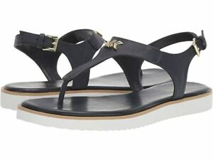 MICHAEL KORS MK Brady Thong Flat Slingback Sandals Admiral Blue Saffiano Size 10