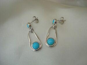 2.00ct Sleeping Beauty Turquoise Sterling Silver Drop Earrings